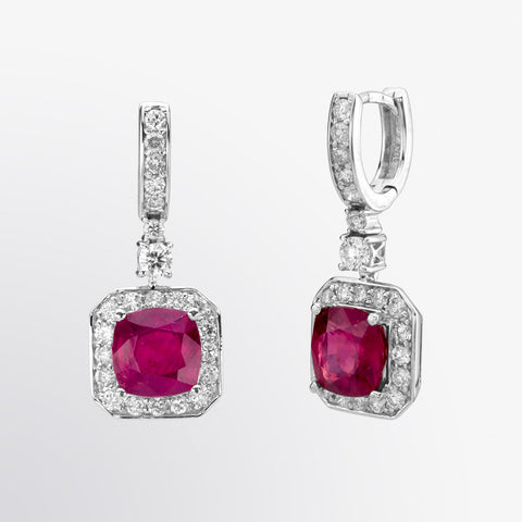 Cushion Cut Ruby and Diamond Earrings