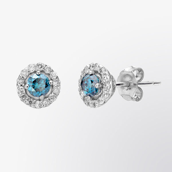 Blue Diamond and Micropave Diamond Earrings