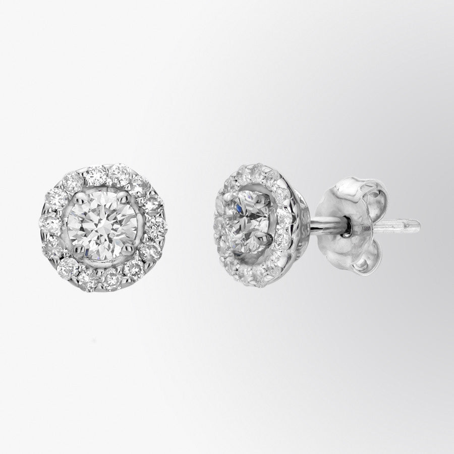 Diamond and Micropave Diamond Stud Earrings