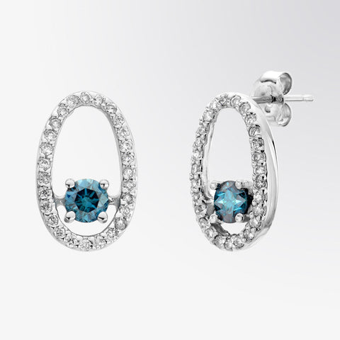 Blue Diamond and Diamond Drop Earrings
