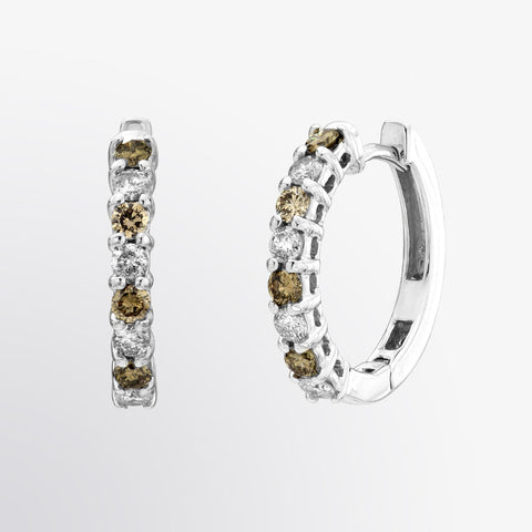 Brown Diamond and Diamond Hoop Earrings