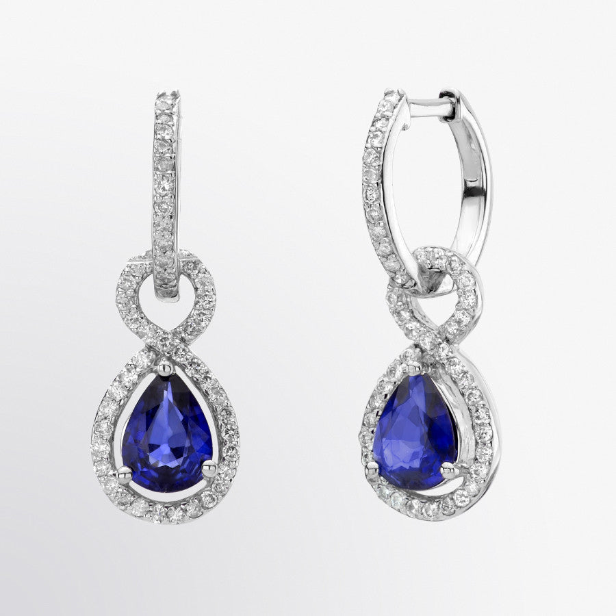Pear Shaped Blue Sapphire and Diamond Earrings