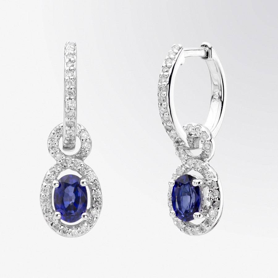 Oval Blue Sapphire and Diamond Earrings