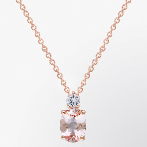 Oval Shaped Morganite Classic Pendant