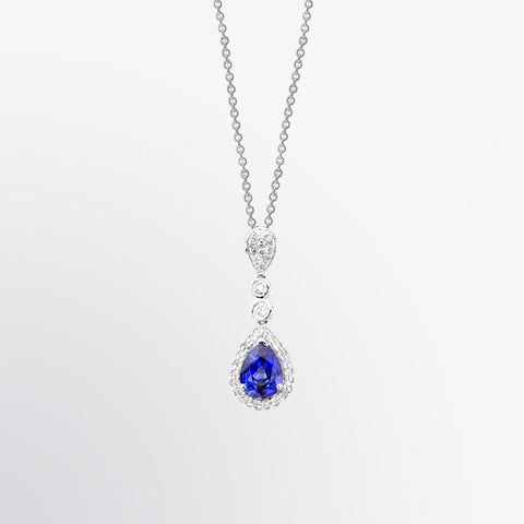 Pear Shaped Blue Sapphire and Diamond Drop Pendant