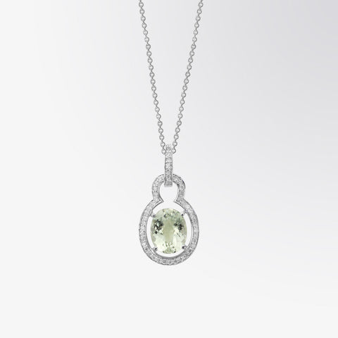 Green Amethyst and Diamond Lock Pendant