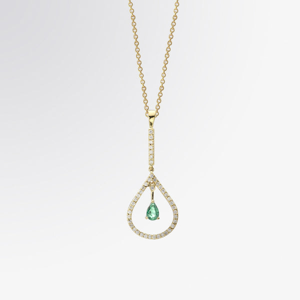 Pear Shaped Emerald and Diamond Pendant