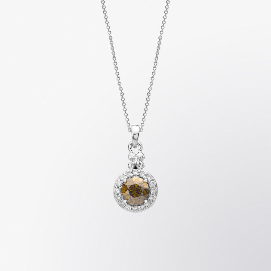 Brown Diamond and Diamond Halo Pendant