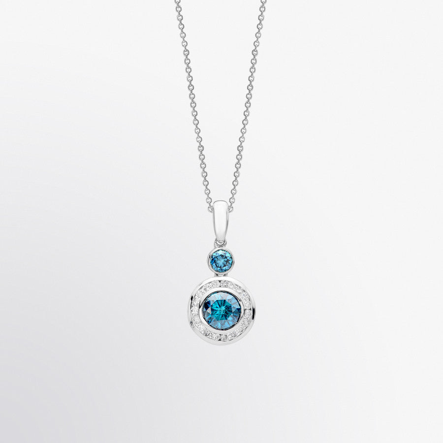 Blue Diamond and Diamond Halo Pendant