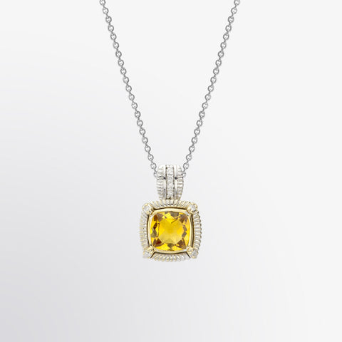 Two Tone Citrine and Diamond Pendant