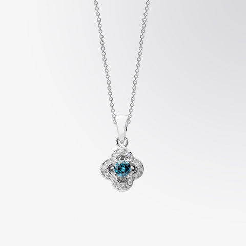 Blue Diamond and Diamond Clover Pendant