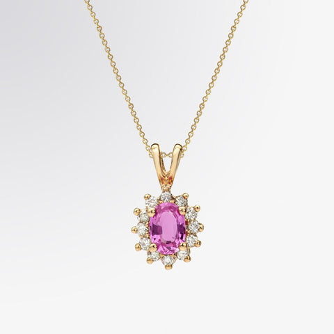 Oval Shaped Pink Sapphire and Diamond Pendant