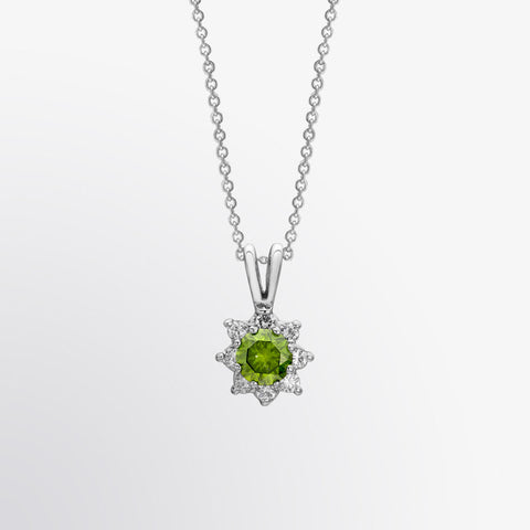 Green Diamond and Diamond Flower Pendant