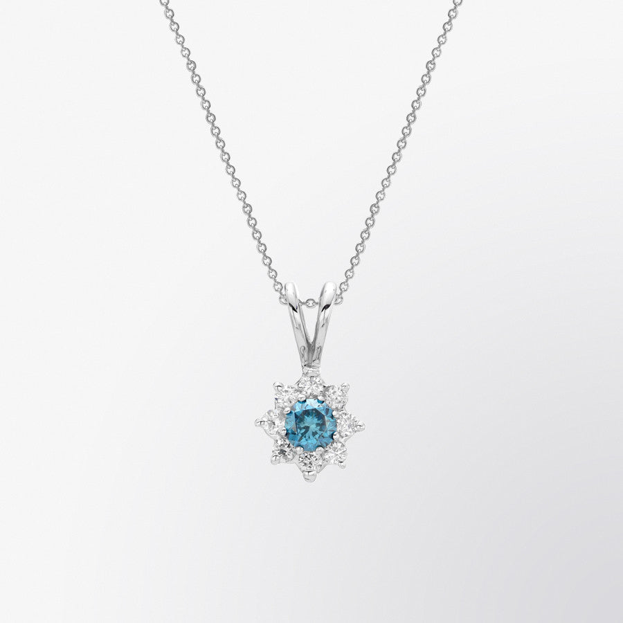 Blue Diamond and Diamond Flower Pendant