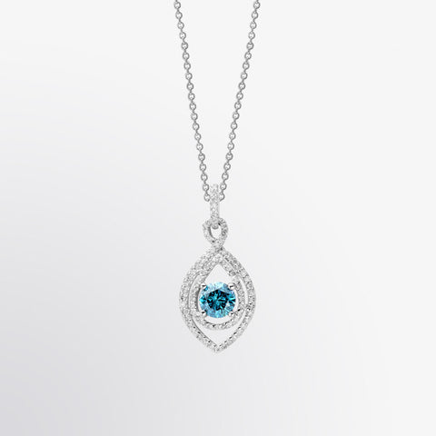 Blue Diamond and Diamond Eye Pendant