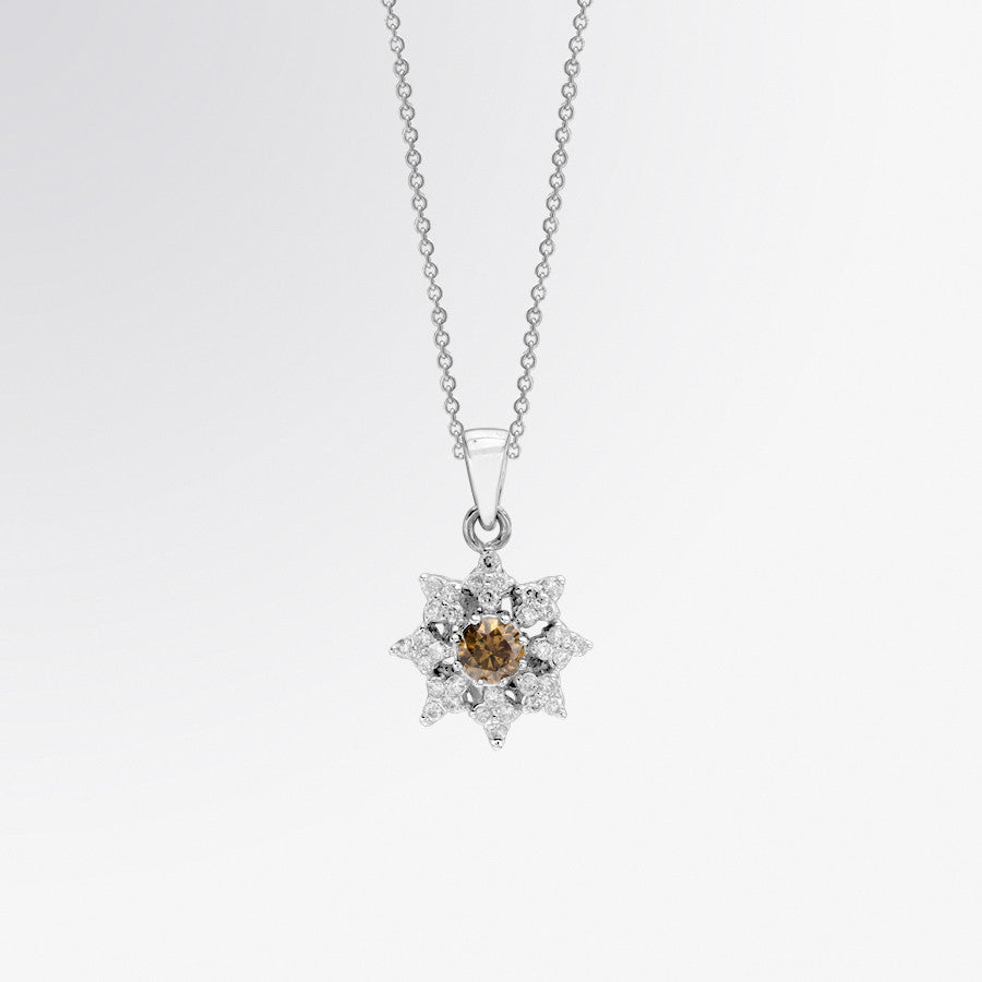 Brown Diamond and Diamond Flower Pendant