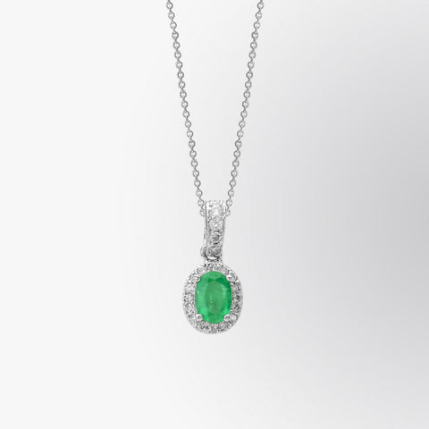 Emerald and Diamond Halo Pendant