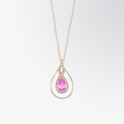 Pear Shaped Pink Sapphire and Diamond Pendant