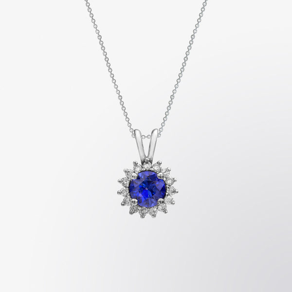 Blue Sapphire and Diamond Flower Pendant
