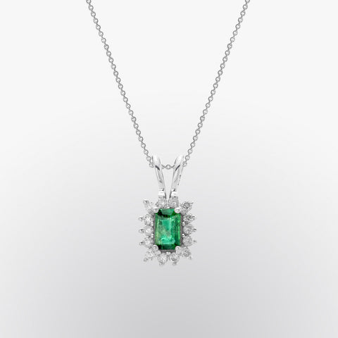 Emerald Cut Emerald and Diamond Pendant