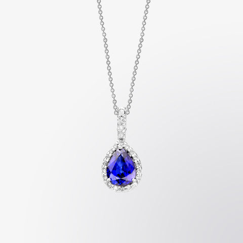 Pear Shaped Blue Sapphire and Diamond Pendant