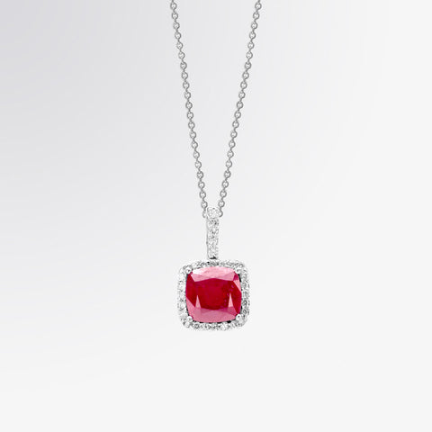 Ruby and Diamond Halo Pendant