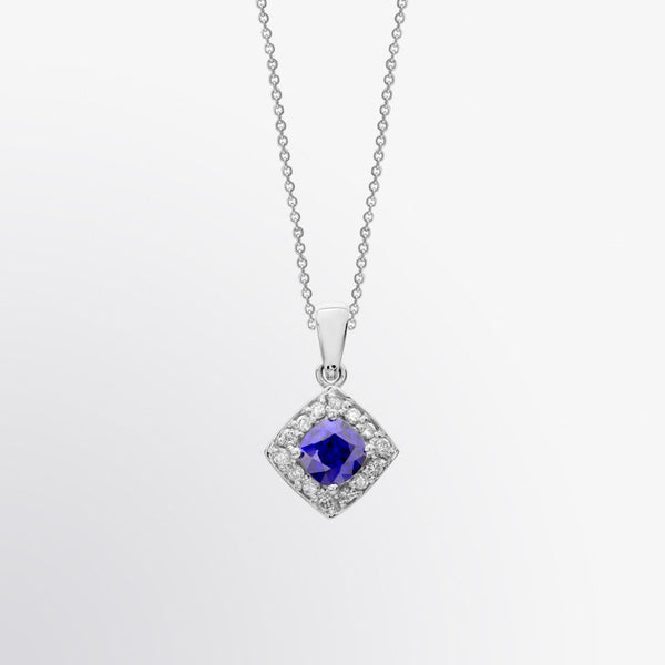 Classic Blue Sapphire and Diamond Pendant