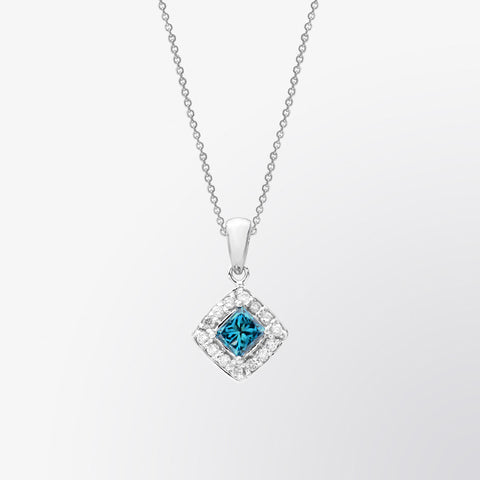 Classic Blue Diamond and Diamond Pendant