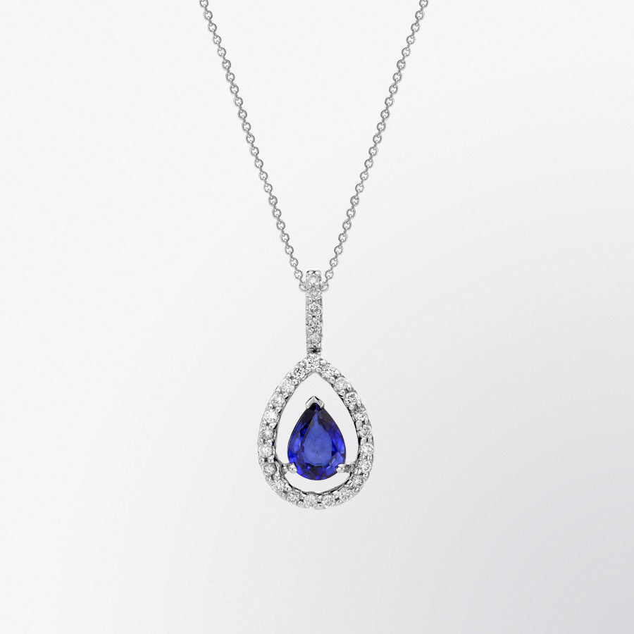 Fifth bond pear shaped blue sapphire and diamond pendant pear shaped blue sapphire and diamond pendant aloadofball Image collections