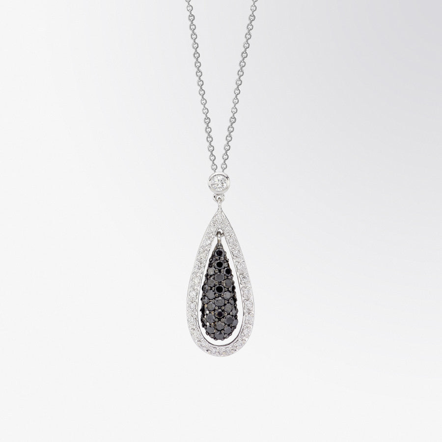 Black Diamond and Diamond Drop Pendant