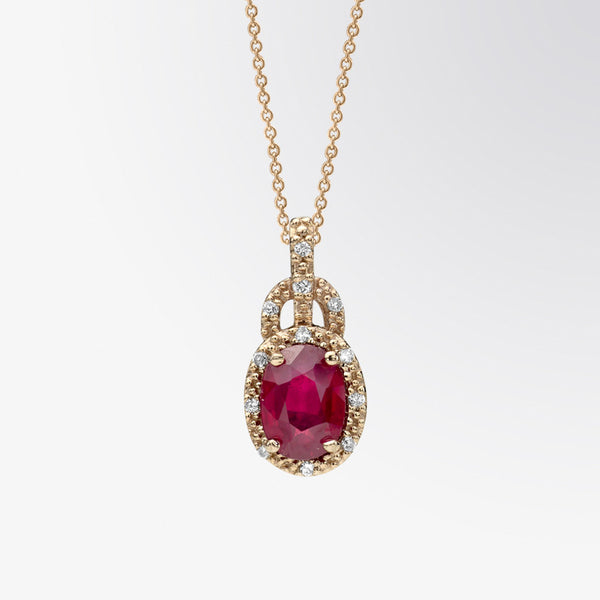 Oval Shaped Ruby and Diamond Pendant