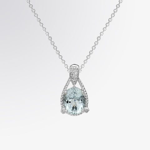 Aquamarine and Diamond Cable Pendant