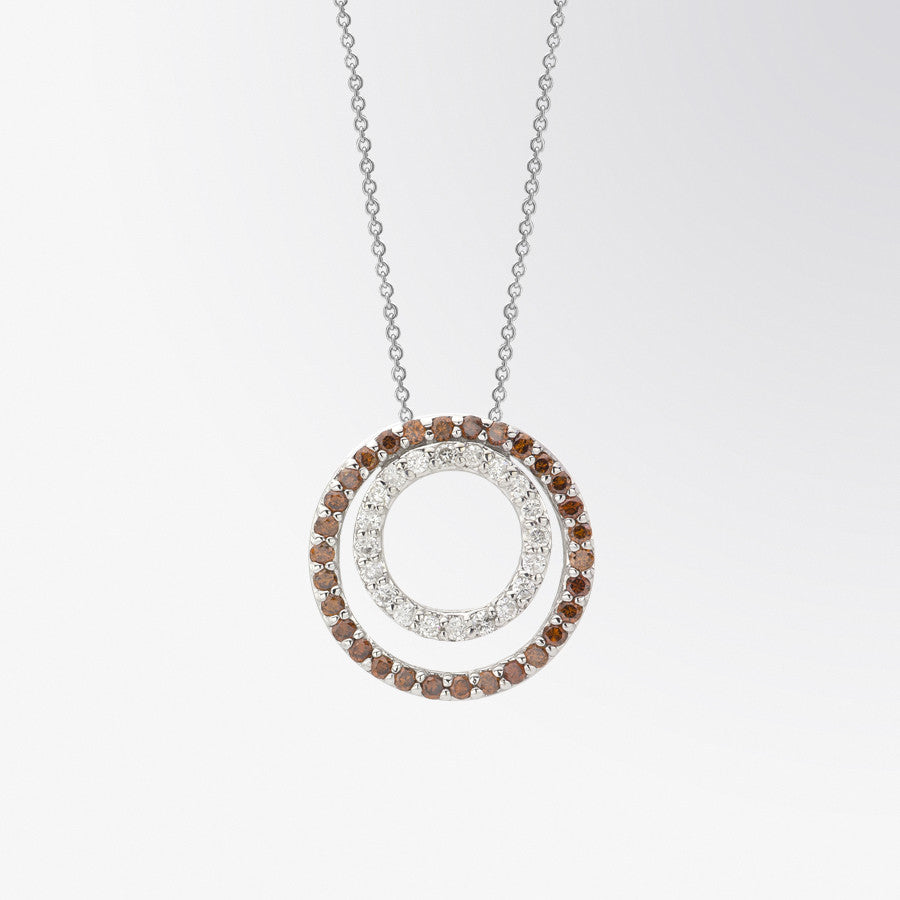 Brown Diamond and Diamond Double Circle Pendant