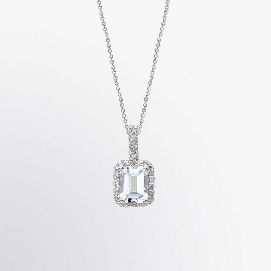 Emerald Cut Aquamarine and Diamond Halo Pendant