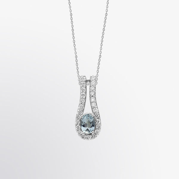 Aquamarine and Diamond Drop Pendant