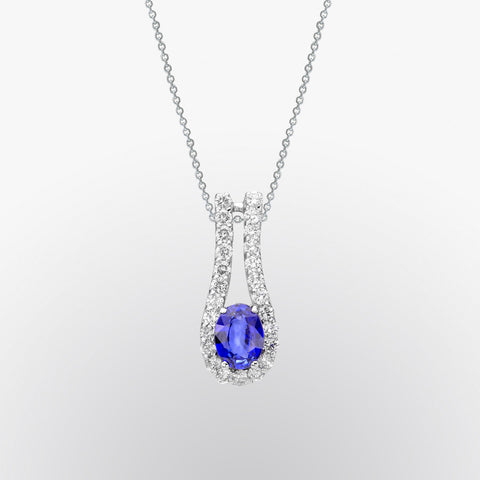 Blue Sapphire and Diamond Drop Pendant