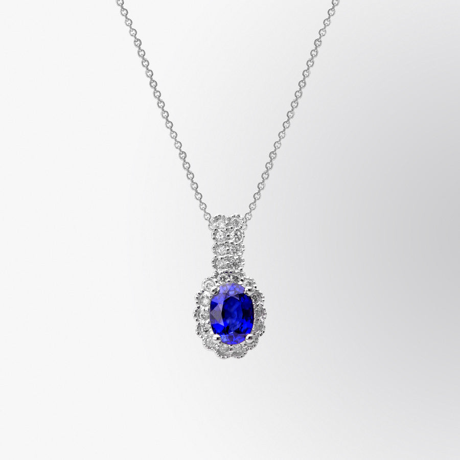 Vintage Blue Sapphire and Diamond Pendant