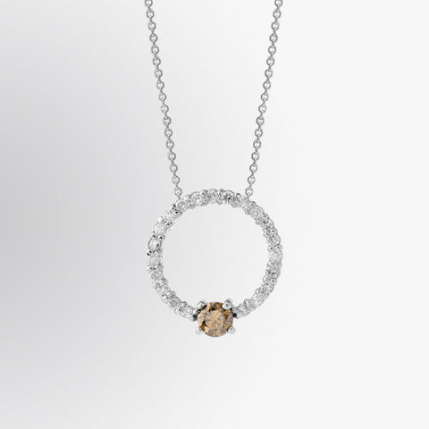 Brown Diamond and Diamond Circle Pendant