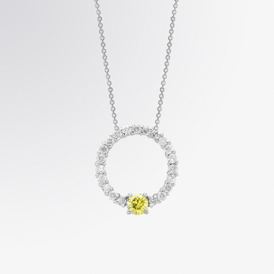Yellow Diamond and Diamond Circle Pendant