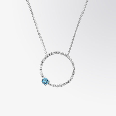 Blue Diamond and Diamond Circle Pendant