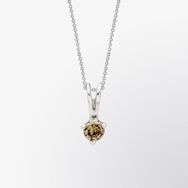 Brown Diamond and Diamond Solitaire Pendant