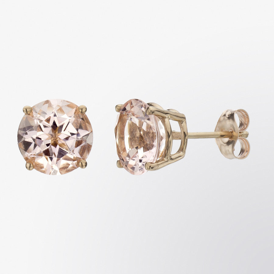 design earrings peach gallery handmade rose pink stud carat morganite gold