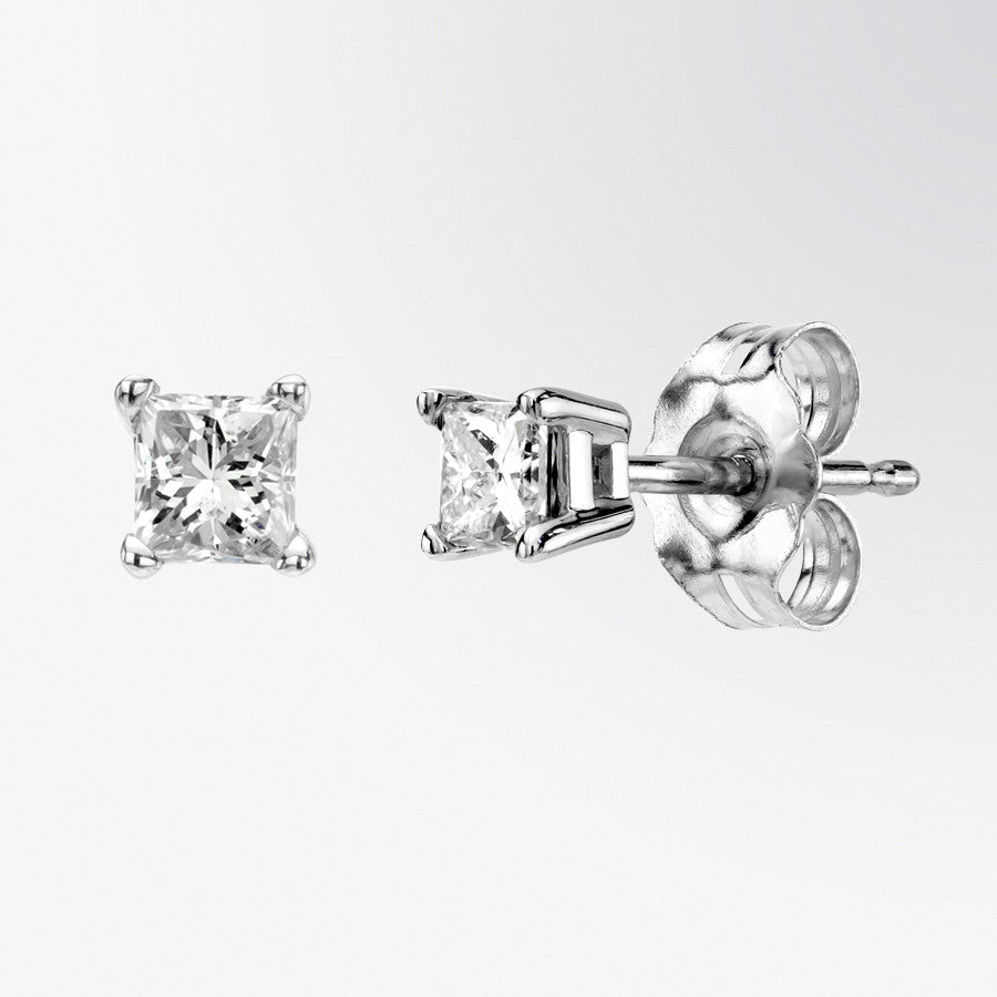 cut jewelers studs halo stud princess earrings ctw kk diamond