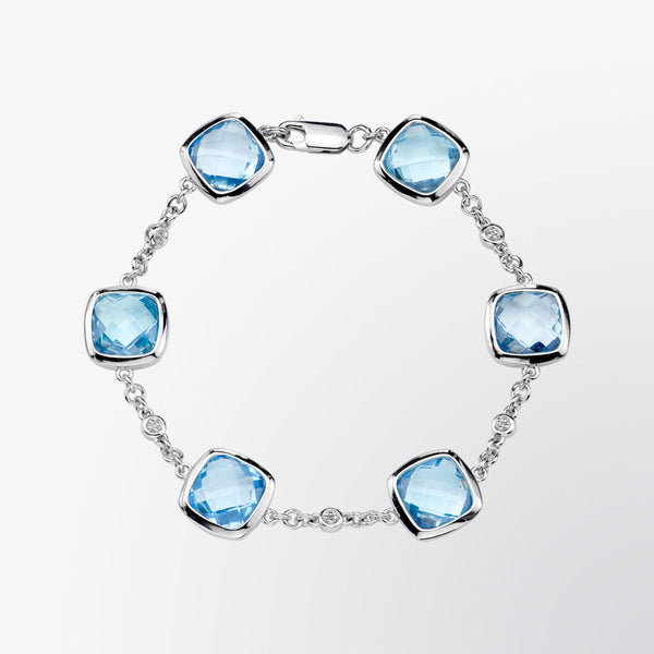 Blue Topaz and Diamond Bracelet
