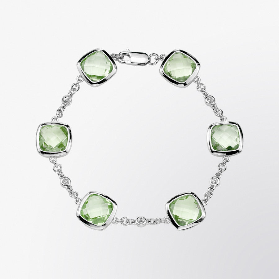 Green Amethyst and Diamond Bracelet