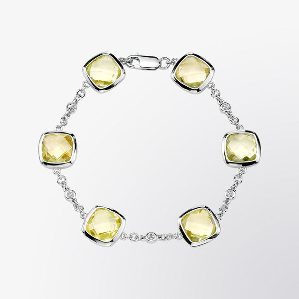 Lemon Quartz and Diamond Bracelet