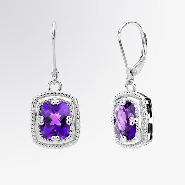 Cushion Cut Amethyst Drop Earrings