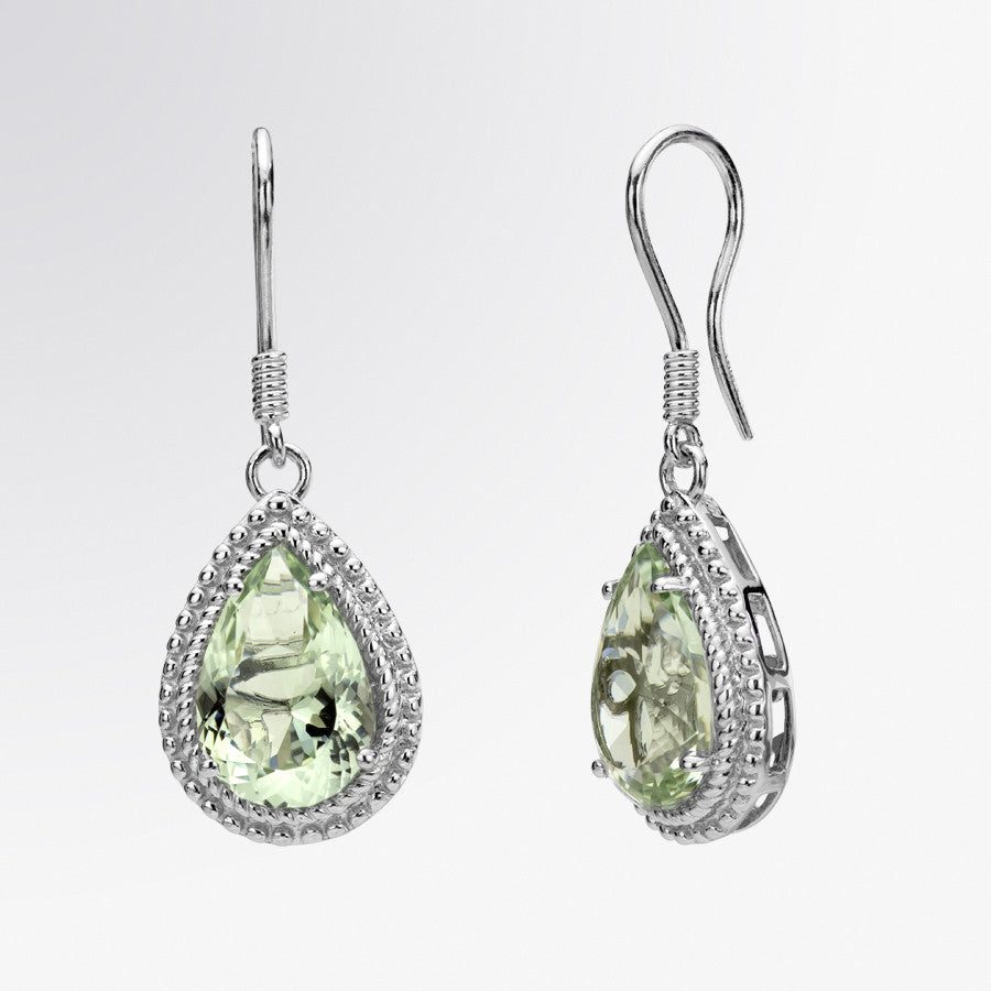 Pear Shaped Green Amethyst Drop Earrings