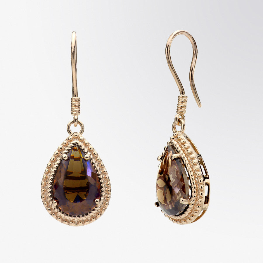 Pear Shaped Smoky Topaz Drop Earrings
