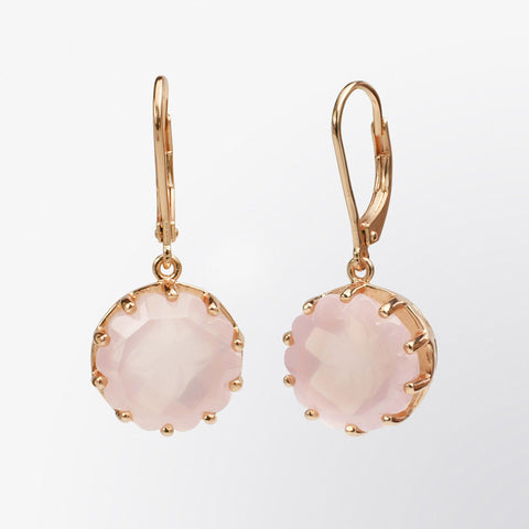 Rose Quartz Flower Earrings